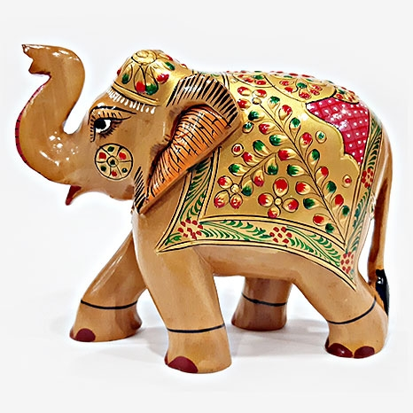 Wooden Painted Elephant 13 cm