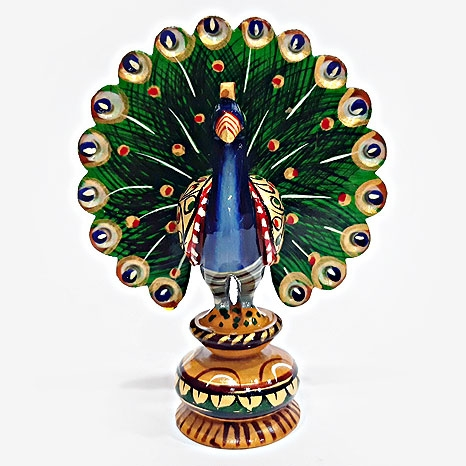 Wooden Painted Dancing Peacock Medium