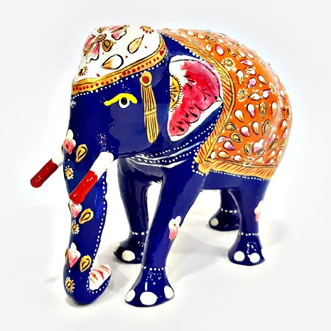 Metal Painted Trunk down Elephant Big