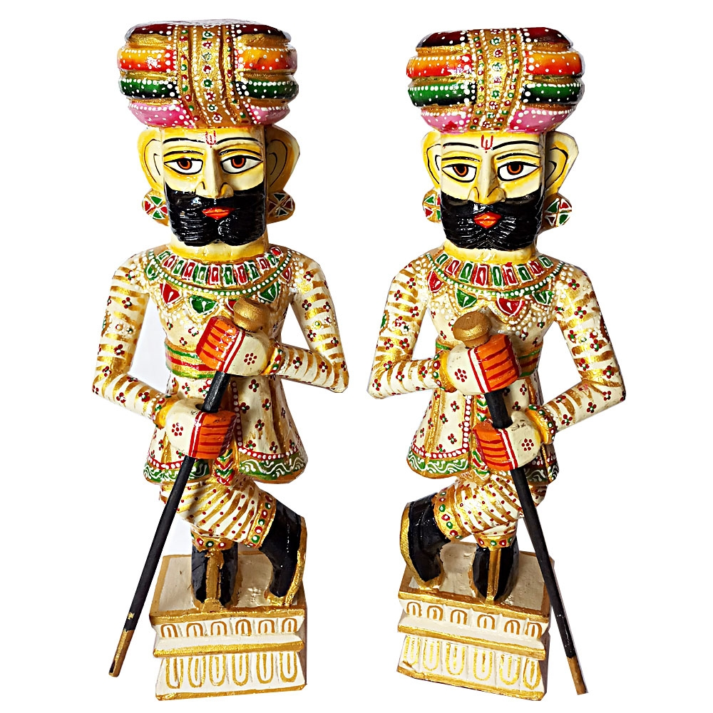 Pair of Wooden Darban/Chowkidar – 45cm Height