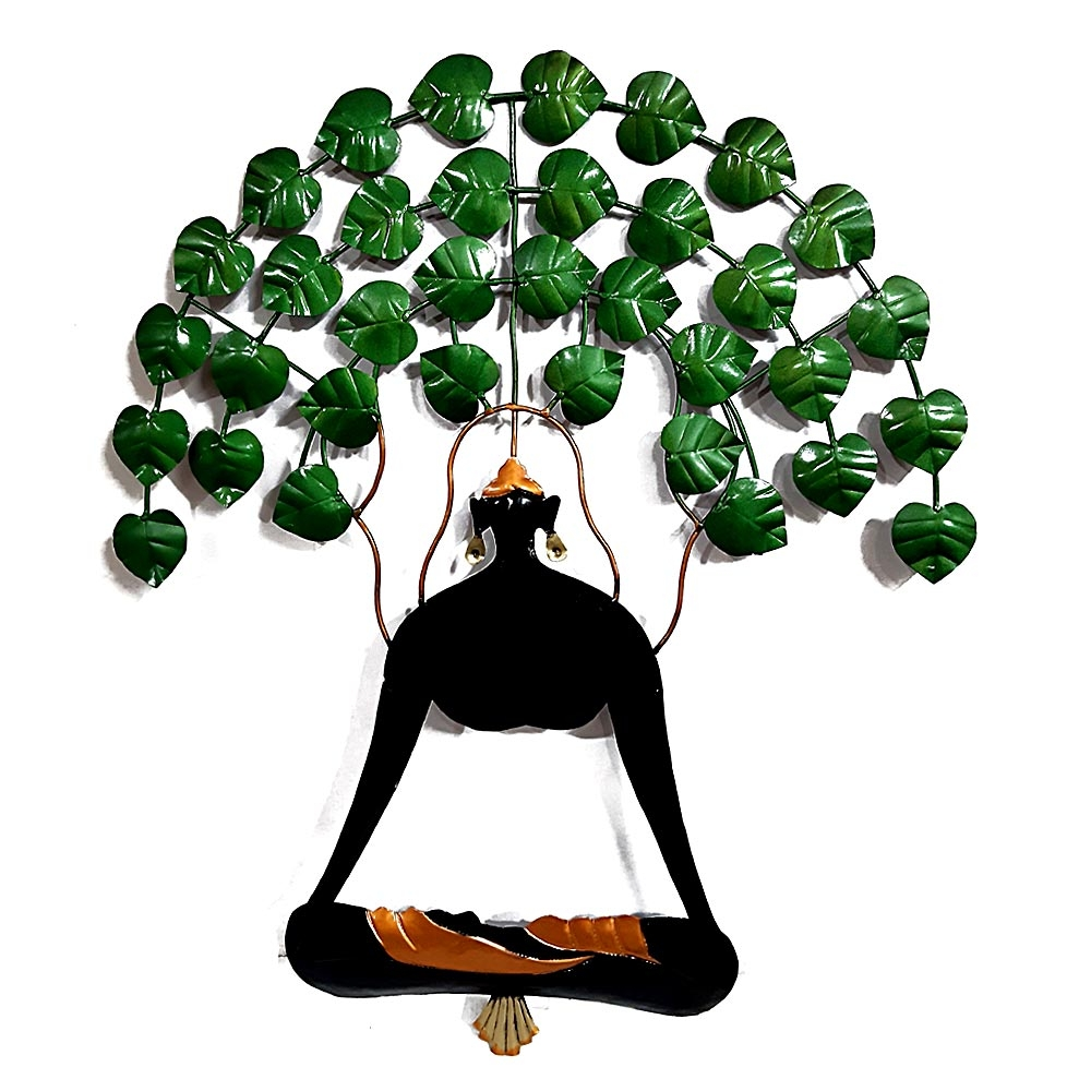 Wall Decor Metal Buddha Tree