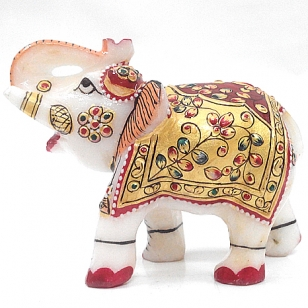 Marble Embossed Painted Elephant