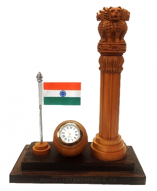 Desk Clock with Ashok stambh & Flag