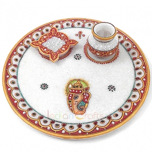 Exclusive Marble Puja Thali