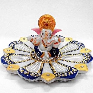 Decorative Ganesh on lotus plate