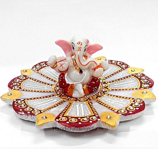 Pretty Ganesh idol on lotus