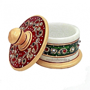 Marble Painted Round Box with Lid
