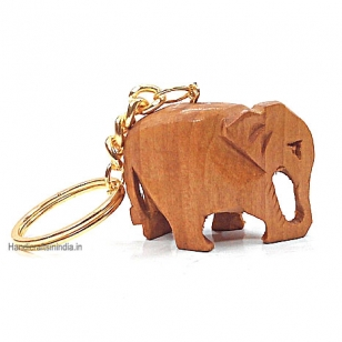 Wooden Plain Elephant Keychain