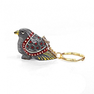 Wooden Painted Pigeon Keychain