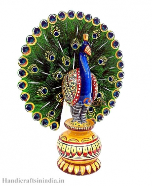 Wooden Painted Dancing Style Peacock 8 inch