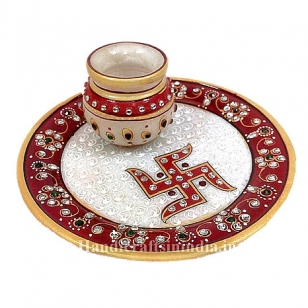 Pooja thali with Lota & Swastika design