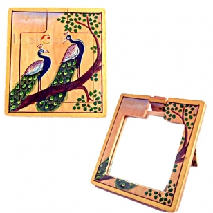 Wooden Peacock Painting Mirror