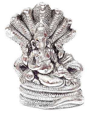 White Metal Ganesh Statue with Snake