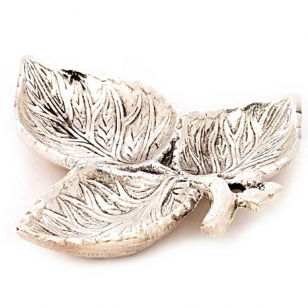 Three Leaf Tray in White Metal