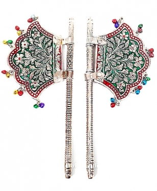 White Metal Hand Fan ( Pair ) Decorative