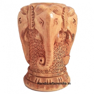 Wooden Elephant Designed Pen holder