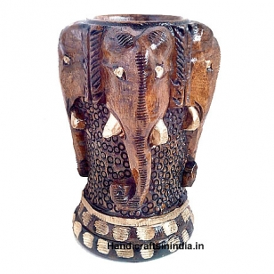 Wooden Elephant Pen Holder (Brown)