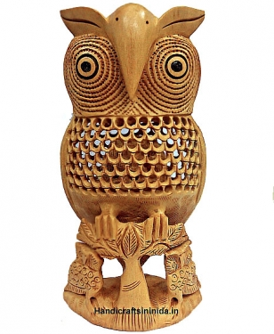Wood Carving & Undercut Owl 8 inch