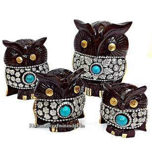 Wooden Carved and Decorated Owl (set of 4pc)