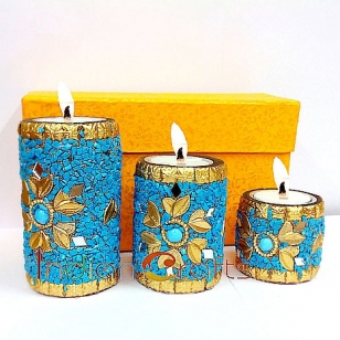 Wooden Tea Light Holder set of 3pc