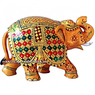 Wooden Painted Trunk up lifted Elephant