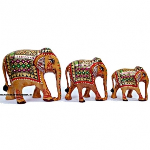 Souvenir Wooden Painted Elephant set of 3 pc