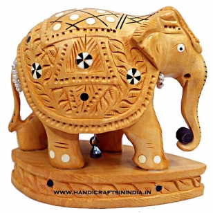 Wooden Carved Inlaid Elephant