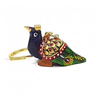 Wooden Peacock Keychain - Pack of 12pc