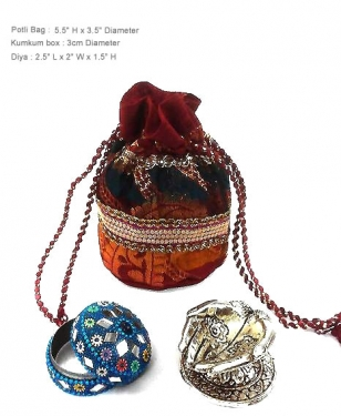 Potli bag, Diya & Kumkum box Set