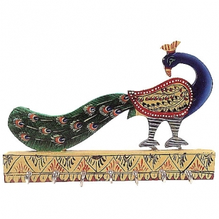 Wooden Peacock Key Holder