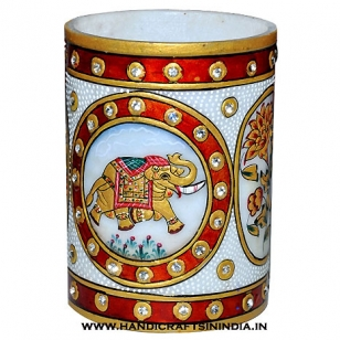 Marble Elephant Painting Pen Holder