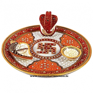 Marble Pooja Thali with Swastika Design