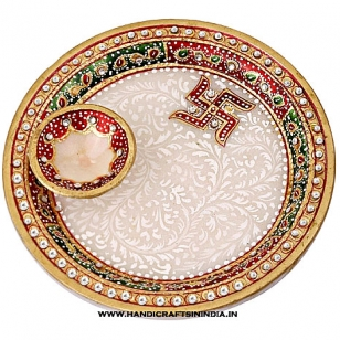 Marble Pooja thali and diya