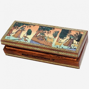 Gemstone Painting Teak Wood Jewel Box 8x4