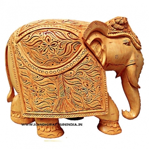 Wooden Floral Carved Elephant Big