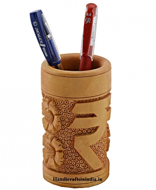 Wooden Pen Holder with Rupee Logo