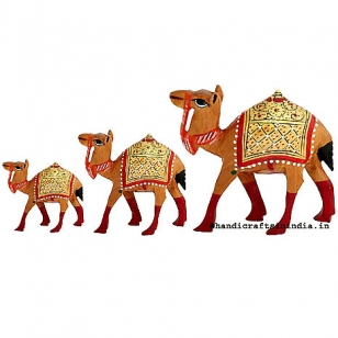 Wood Carving Camel set of 3pc