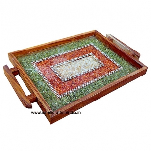 Wooden Serving Tray (Stone work)