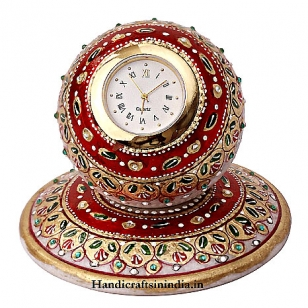 Marble Painted Round Ball Clock