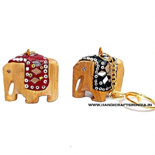 Wooden Lac Elephant Keychain - Pack of 12pc