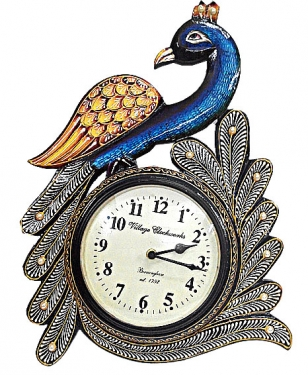 Peacock Mounted Wall Clock