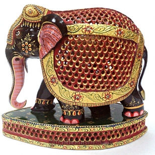 Wooden Painted Undercut Elephant