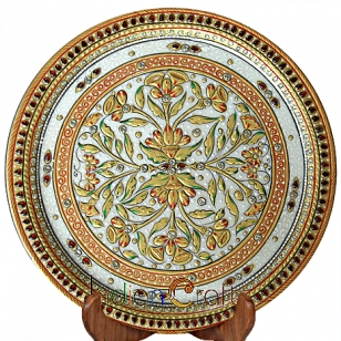 Marble Leaves and Floral Painted Thali