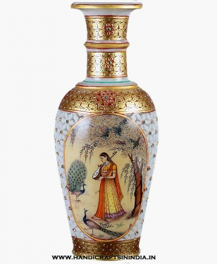 Marble pot with lady painting