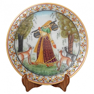 Marble Lady Painted Thali Showpiece