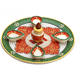 Marble Pooja Thali with Four Diya