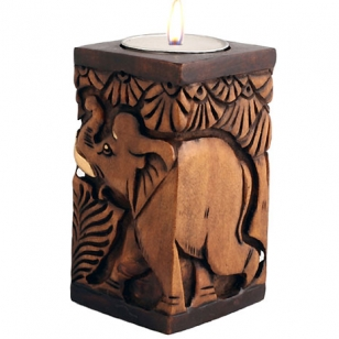 Wood Carving T Light Holder