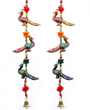 3 Peacock Hanging - Pair