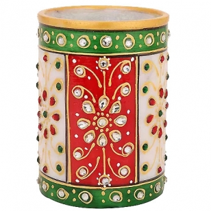 Marble Kundan Work Pen Holder