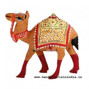 Wooden Gold Painted Camel